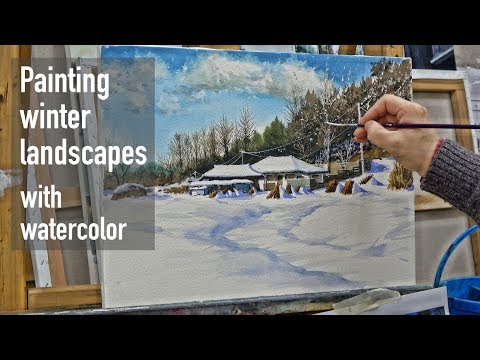 Watercolor winter landscapes painting process tutorial (speed painting)