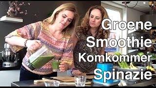 Groene Smoothie Komkommer Spinazie Appel Blauwe Bessen