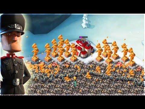 Attacking CRAZY NPC Base Builder Bases!! Boom Beach ALL Riflemen Spam!
