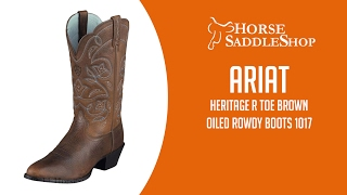 Ariat Women's Western Heritage R Toe Boots Brown Oiled Rowdy 1017