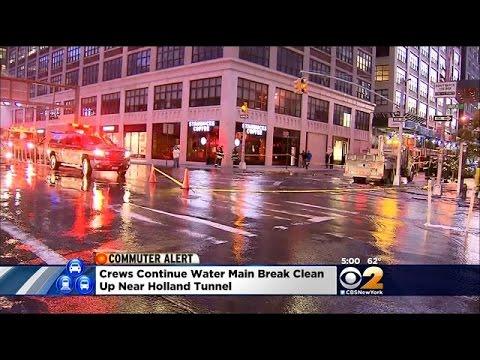 Water Main Break Floods Street Near The Holland Tunnel