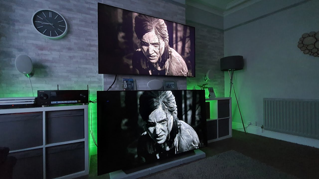 LG CX OLED vs 8K QLED, gaming test,The Last Of Us Part 2,PS4 Pro