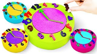 Learn Colors And Numbers With Play Doh Clock Toy Kinetic Sand Flower - Learning Videos For Kids
