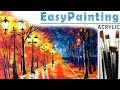How to paint beautiful fall forest LANDSCAPE! Oil painting tutorial for beginners. Tree painting 如何