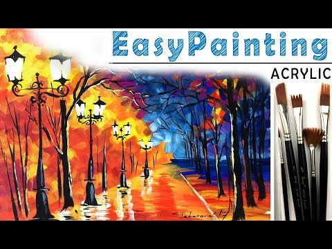 How to paint beautiful fall forest LANDSCAPE! Acrylic painting tutorial for beginners. Tree painting