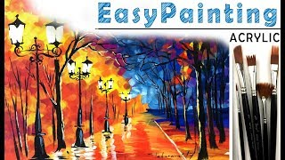 How to paint beautiful fall forest LANDSCAPE! Free painting tutorial for beginners. Tree painting