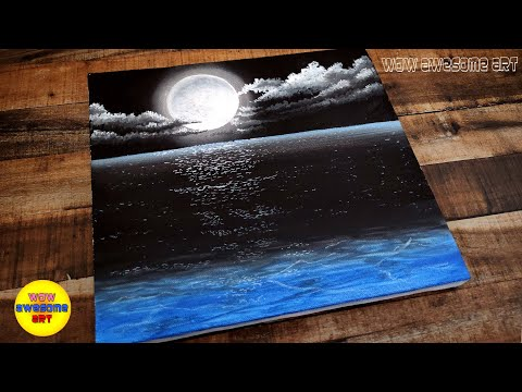 Drawing Challenge #22 / Acrylic painting of beautiful Moonlight night sky landscape step by step