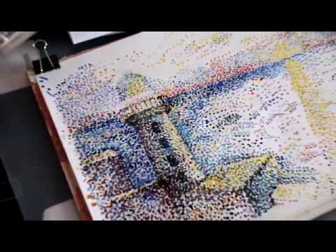 Как нарисовать рисунок точками. Стили живописи. Painting styles. Пуантилизм акварелью.