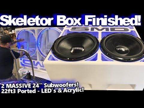 """The """"Skeletor"""" Box Finished! 2 Gigantic 24"""" Sundown ZV5 Subwoofers, Ported, Edge Lit Acrylic, BASS!"""
