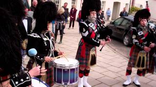Birnam Highland Games Pipers And Drummers Dunkeld Cross Perthshire Scotland
