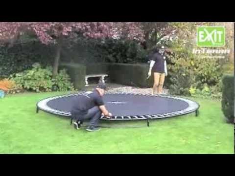 trampolin inground interra bodentrampolin montage youtube. Black Bedroom Furniture Sets. Home Design Ideas