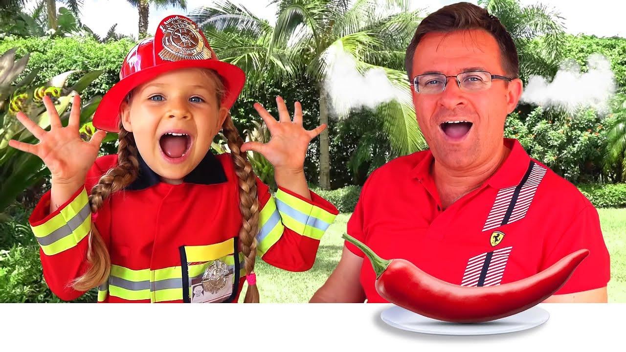 Диана играет в Пожарного и помогает папе