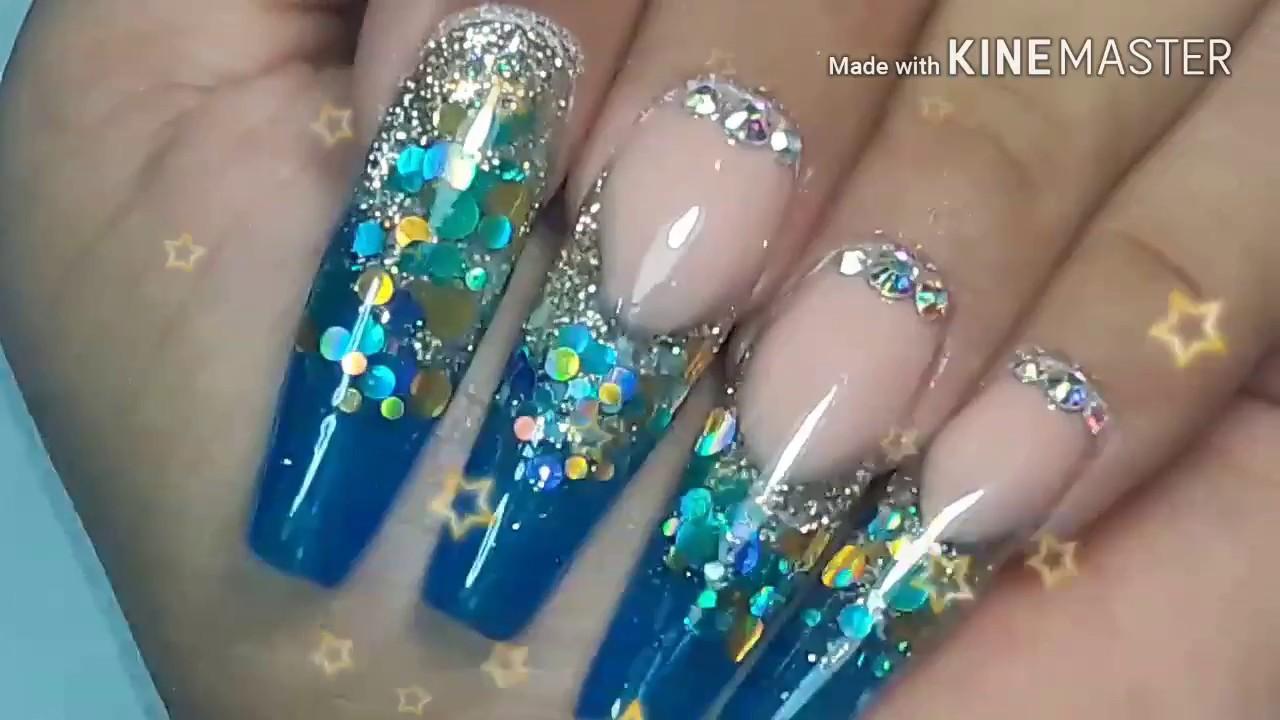 Majestic Blue Uñas Acrilicas by Merry | Gota de arte - YouTube