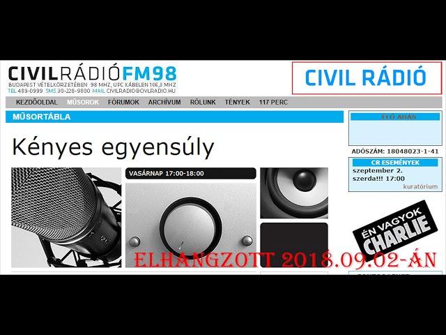 Kényes Egyensúly 2018.09.02. Iványi Margit - Lendvai Küszi Éva - Civil Rádió