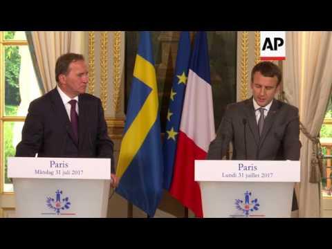 Macron meets Swedish PM Stefan Lofven