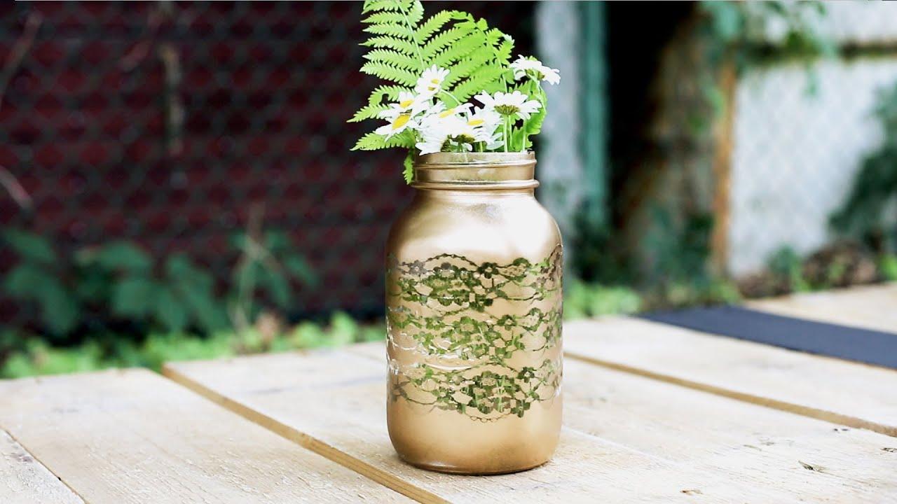 Diy lace mason jar vase youtube floridaeventfo Choice Image