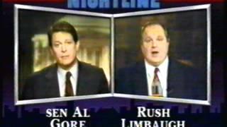 Rush Limbaugh / Al Gore 1992 Nightline debate Part 2
