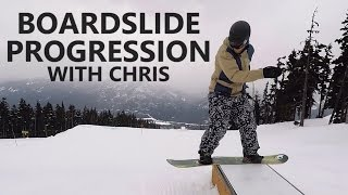 Front Boardslide Progression with Chris - Snowboard Tricks