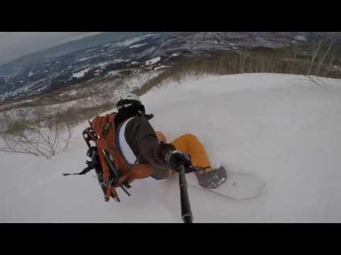 【スノボ�. 1. 9 妙高杉ノ原スキー場 三田原山 バックカントリー    (Back country Snowboarding at Mt.Mitahara)