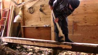Hewing Japanese Cedar with a Masakari (Japanese Broadaxe)
