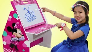 Jannie Pretend Play Drawing Challenge with Minnie Mouse Learning Table