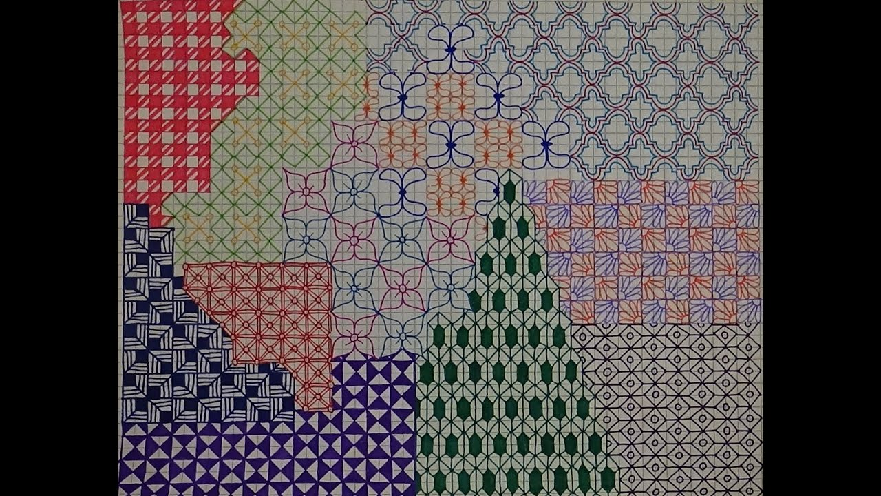 Colorful Graph Paper Drawing - YouTube