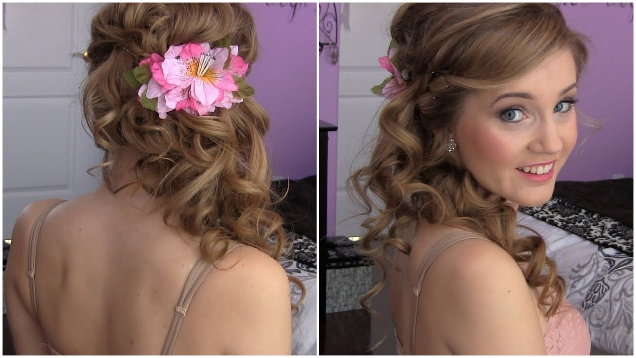 side swept cascading curls - easy diy prom hair tutorial