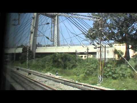 Skipping Krishnarajapuram, and crossing beautiful hanging bridge: AJJ WAM-4 Shatabdi on-board
