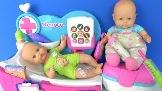 Doktor Heidi Peluş oyuncak hasta Nenuco bebek bakımı doktorculuk. Nenuco ağlayan bebek doktor seti
