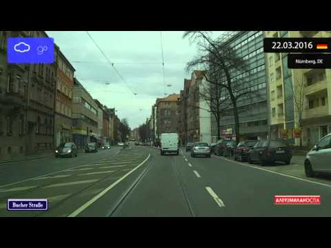 Driving through Nürnberg (Germany) 22.03.2016 Timelapse x4
