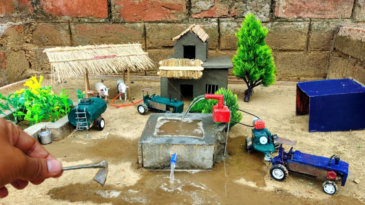 How to make water pump tractor science project | Clay house - with Cow shed @Shaitani Ideas