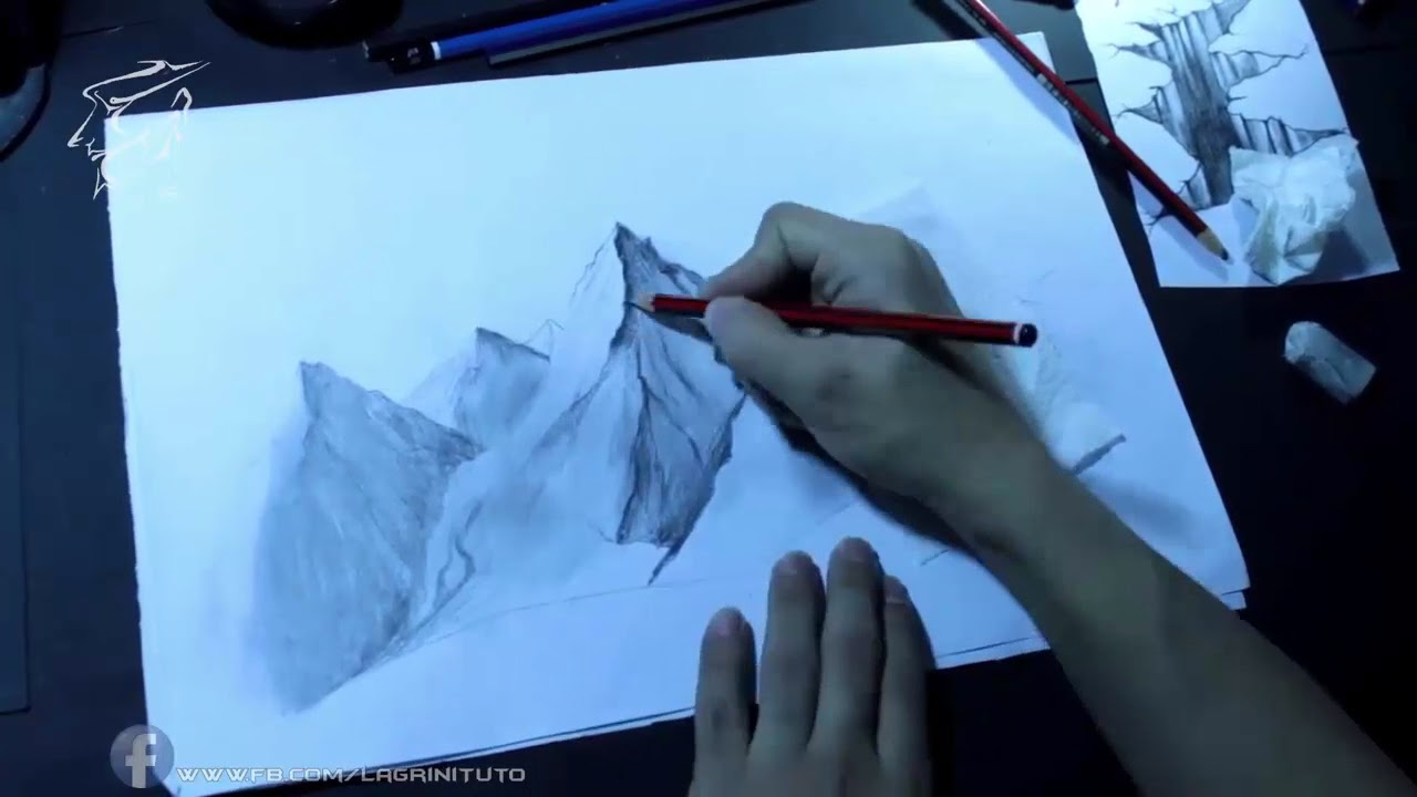 How To Draw A Mountain رسم الجبال بقلم الرصاص Youtube