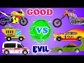 Good vs Evil | Scary Car Videos | Street Vehicles | Cartoon Car War video for Kids