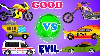 Good vs Evil | Scary Car Videos | Street Vehicles | Cartoon Car War video for Kids