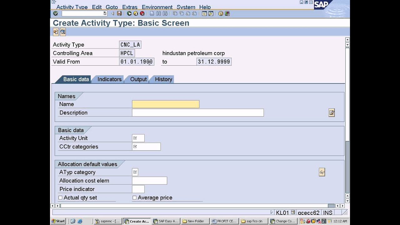 sap fico training crate activity types kl01