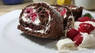 Chocolate & Raspberry Swiss Roll Recipe .Part1