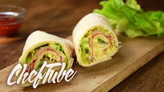 How To Make Party Wraps With Cream Cheese And Turkey Breast - Recipe In Description