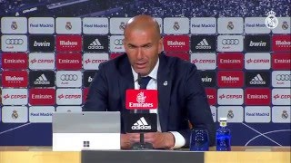 Zidane en la rueda de prensa tras la victoria del Real Madrid sobre el Sevilla