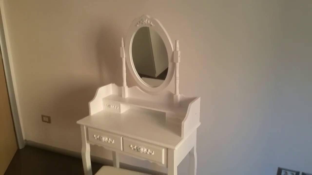 Toeletta tavola da cosmetici con specchio e sgabello colore