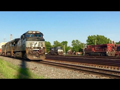 Fast Norfolk Southern Intermodal Train At Amtrak Station!