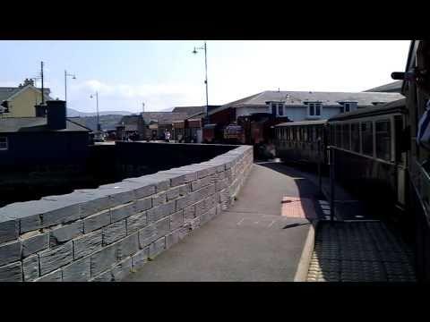 Welsh Highland Railway - Crossing the A487 Britannia Bridge in Porthmadog