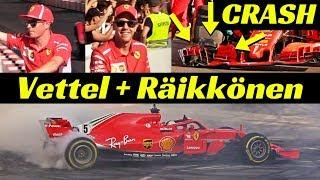 Sebastian Vettel + CRASH + Kimi Räikkönen & Ferrari SF71H - Formula 1 Milan Festival 2018 at Darsena