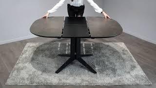 Vidéo: Table de repas ovale extensible D.110/150 cm en céramique gris - DIVA