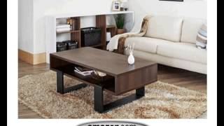 Enitial Lab Monroe Rectangular Coffee Table, Walnut And Black