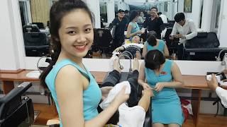 vietnam barber shop /4 hand service/ vietnam hair massage/cutie girl massage/베트남  이발소 굿서비스