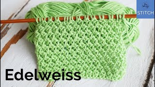 Edelweiss stitch knitting pattern: Easy, reversible, and it doesn't curl!