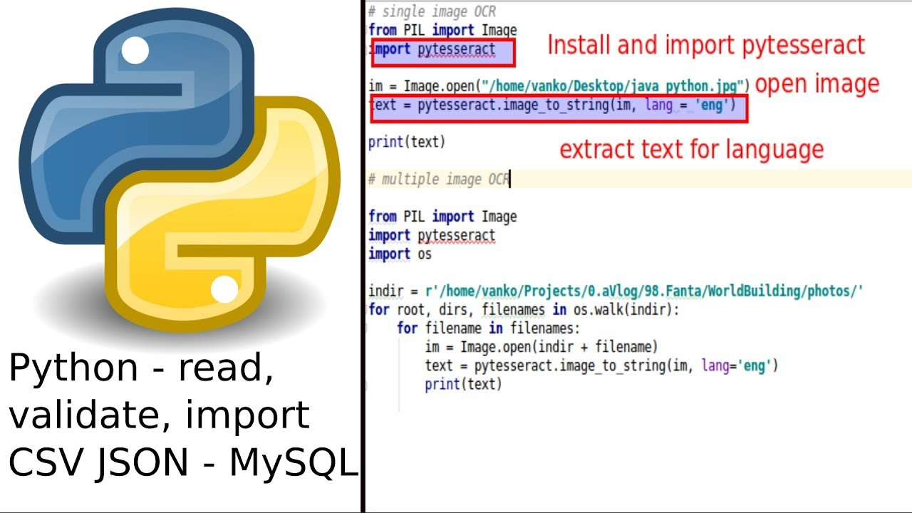 Python read validate and import CSV JSON file to MySQL