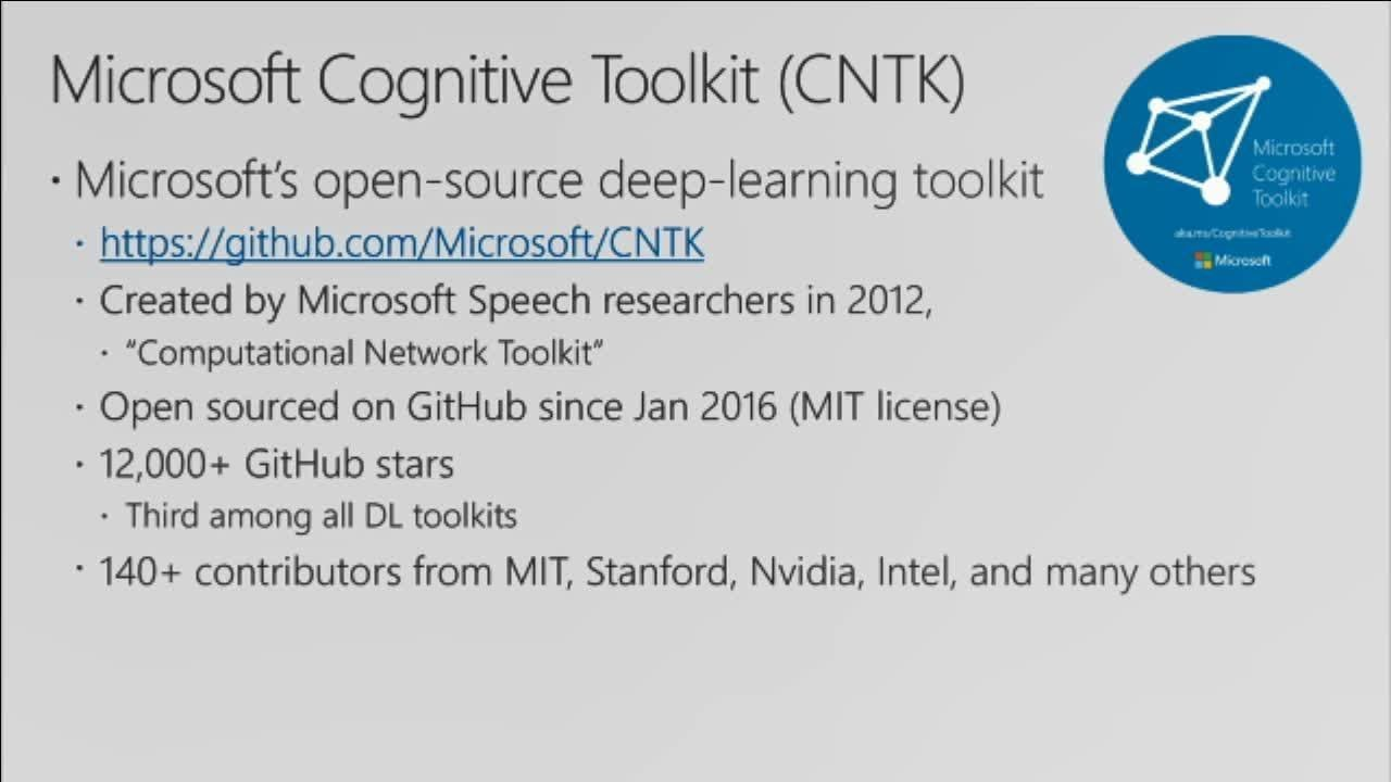 Deep Dive into the Microsoft Cognitive Toolkit (CNTK) – Frank's