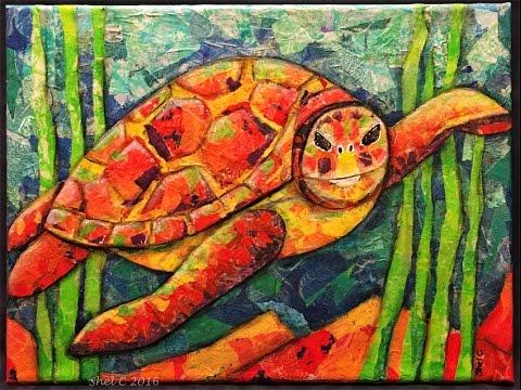 Mixed Media \u0027Paper Painting\u0027 Collage Canvas Sea Turtle - YouTube
