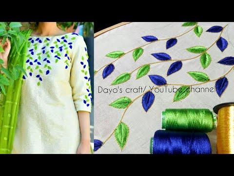 Aari work leaf filling design on kurti | short & long stiches